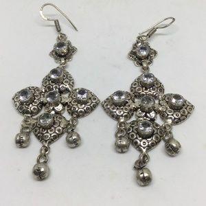White Topaz Dangle Earrings